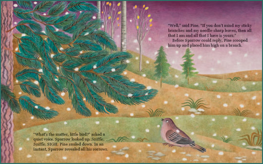 "Pages 20-11 from the book ""Pine and the Winter Sparrow"", written by Alexis York Lumbard and illustrated by Beatriz Vidal"