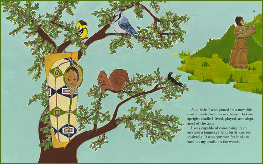 "sample page spread from the book ""Indian Boyhood"", written by Charles Eastman (Ohiyesa) and illustrated by Heidi M. Rasch"