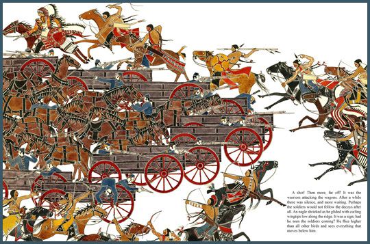 "a sample page-spread from the book ""Red Cloud's War"", by Paul Goble"