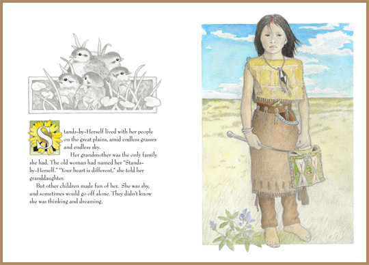 "a sample page-spread from the book ""The Thunder Egg"", by Tim J. Myers and Winfield Coleman"