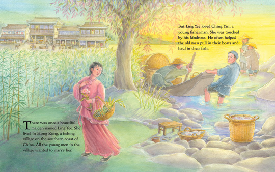 "sample spread from the book ""Princess Sophie and the Six Swans"", by Kim Jacobs"
