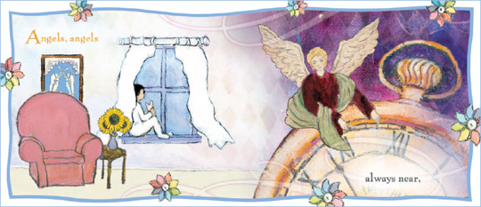 "Sample page from the book ""Angels"" illustrated by Flavia"